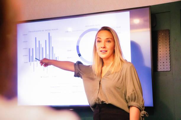 Junge blonde Managerin erklärt Quartalsergebnisse auf großem LED-Bildschirm – Foto