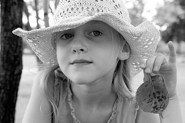 Young blond girl, black & white stock photo