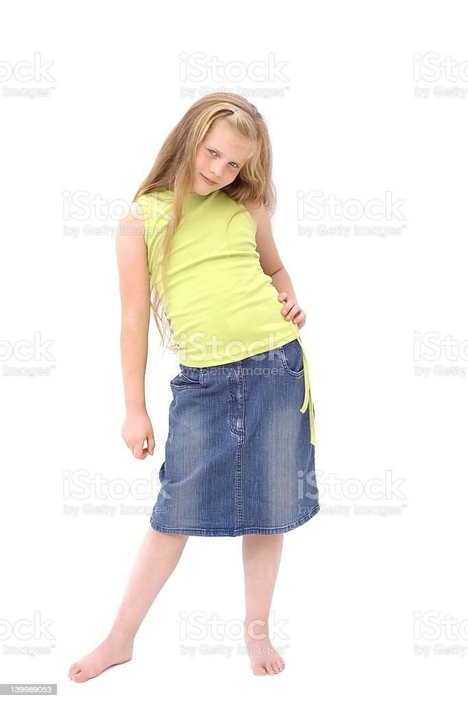 Young blond girl is posing stock photo