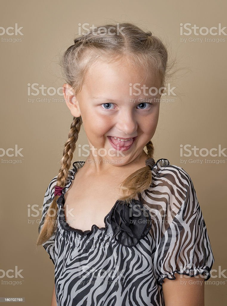 Young Blond Girl with French braids royalty-free stock photo