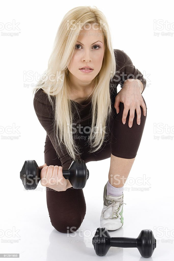 young blond lady exercise royalty-free stock photo
