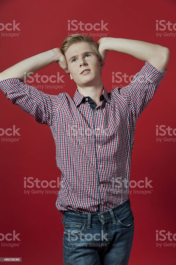 Young blond man stock photo