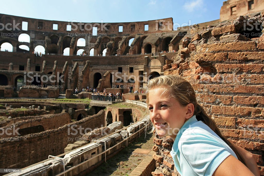 Young blond tourist in Coliseum, Rome Italy royalty-free stock photo