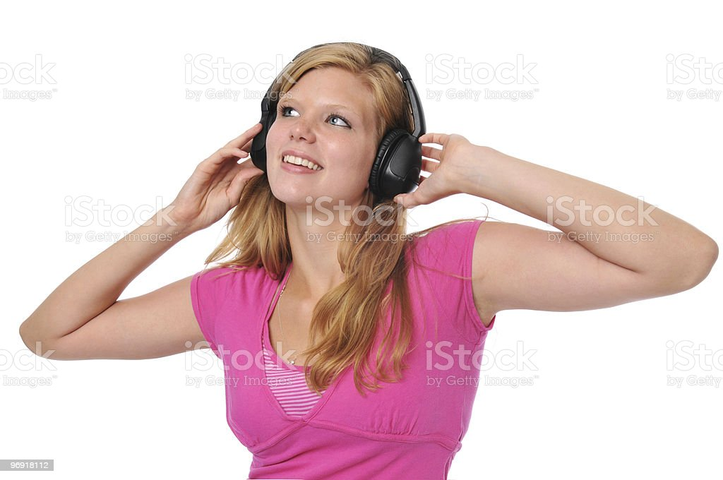 Young blond with headphones royalty-free stock photo