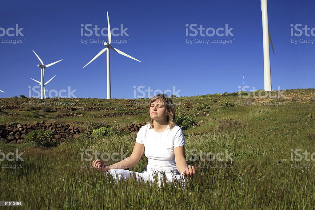 young blond woman doing yoga royalty-free stock photo