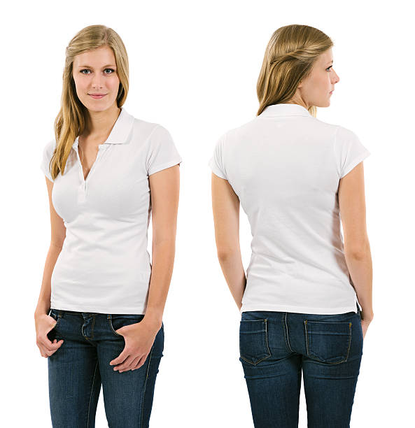 Young blond woman with blank white polo shirt stock photo