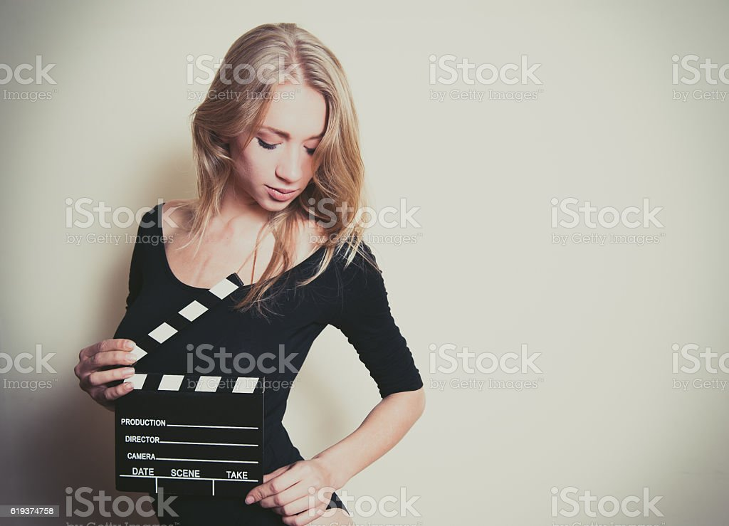 Young blonde actress starting audition stock photo