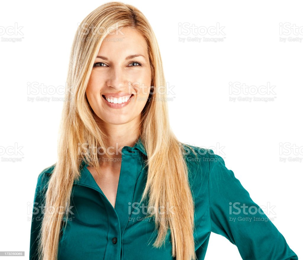 Young Blonde Businesswoman in Teal stock photo