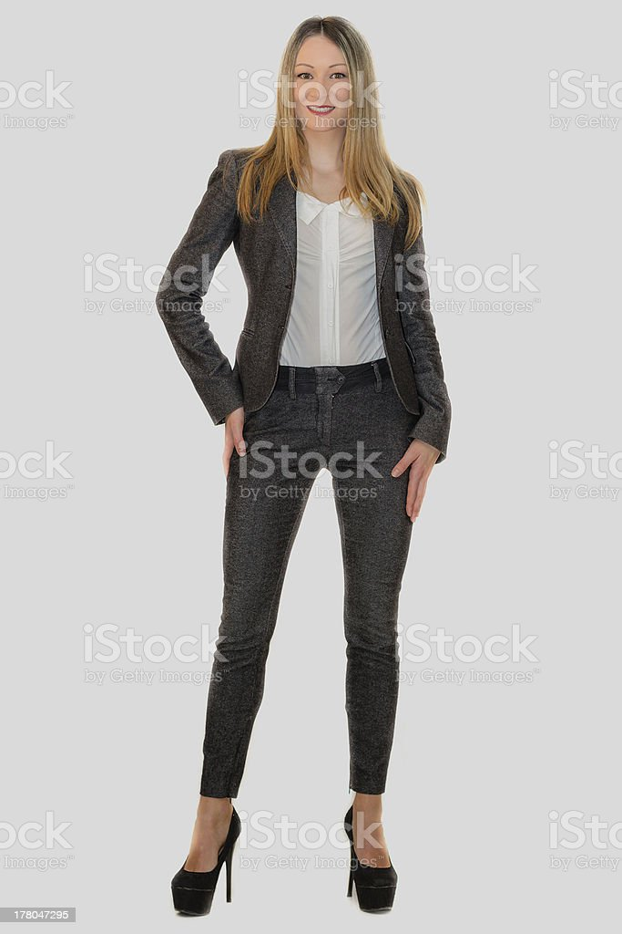 Young blonde model dressed as businesswoman stock photo