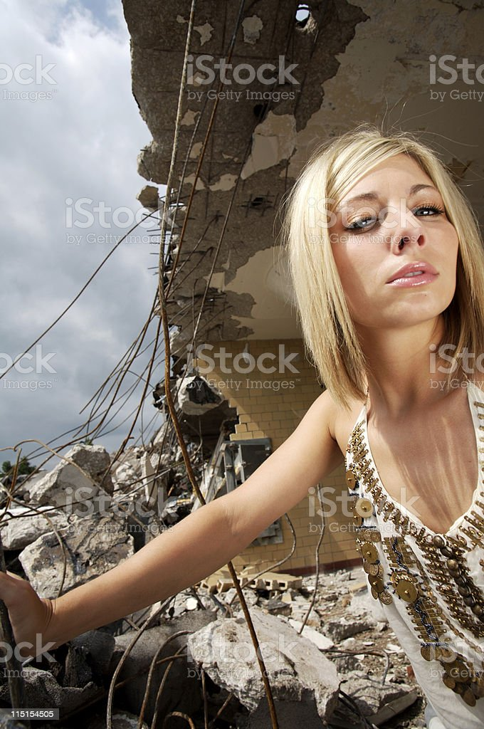 young blonde urban portraits royalty-free stock photo