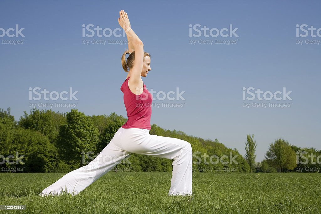 Young Blonde Woman Practicing Yoga Outdoors In The Park royalty-free stock photo