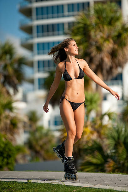 Young Blonde Woman Rollerblader stock photo