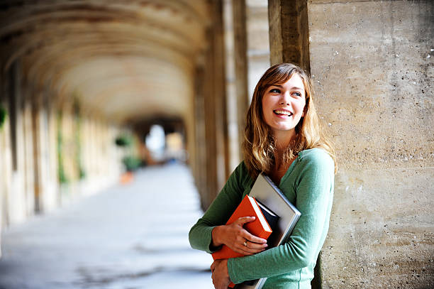 Young Blonde Woman University Student stock photo