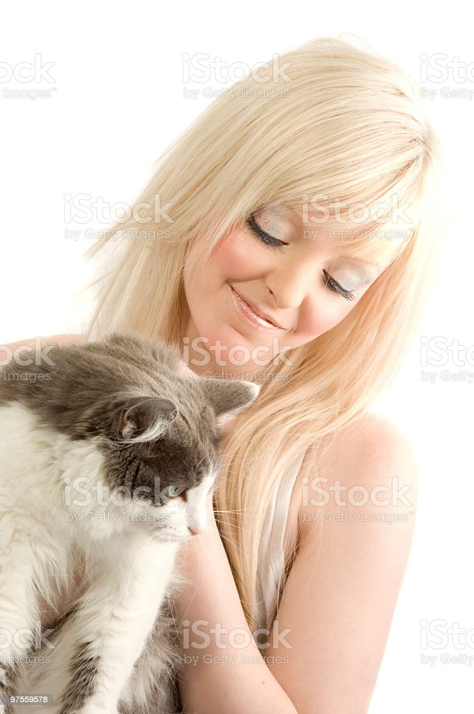 Young blonde woman with cat. royalty-free stock photo