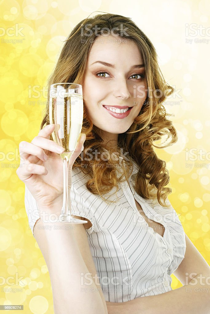 Young blonde woman with champagne glass royalty-free stock photo