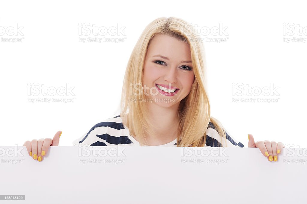 Young blonde woman with whiteboard royalty-free stock photo