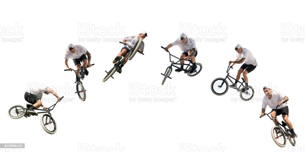 Young BMX bicycle rider on white – Isolated with Clipping Path stock photo