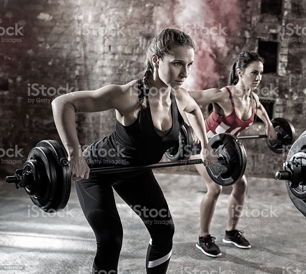 young bodybuilders have training stock photo