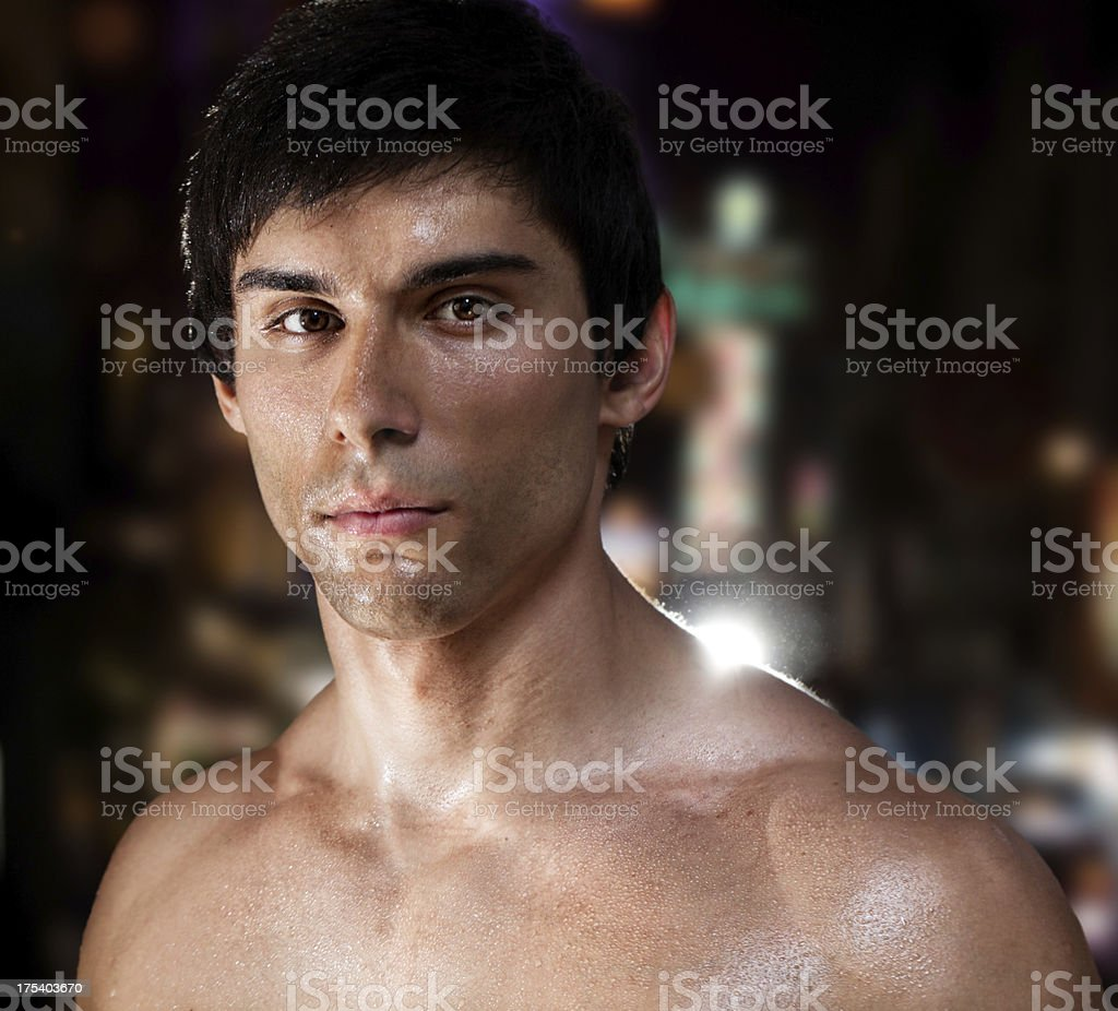 Young Boxer After  Training stock photo