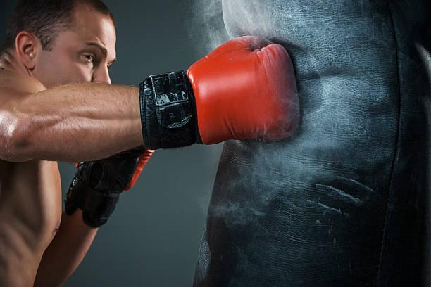 junge boxer-boxen - sandsäcke stock-fotos und bilder