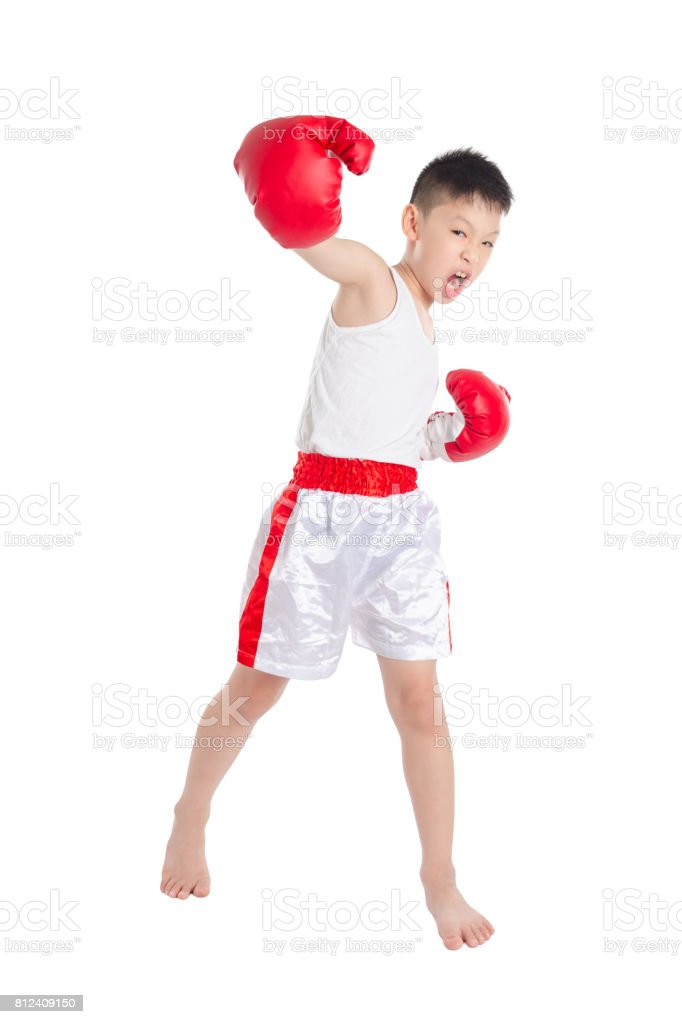 Young boxer over white background stock photo