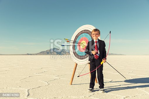 844638658 istock photo Young Boy and Business Archer With Target 543674250