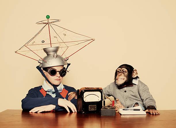 junge und schimpansen-gattung verhalten geist lesung experiment - erfinder der fotografie stock-fotos und bilder