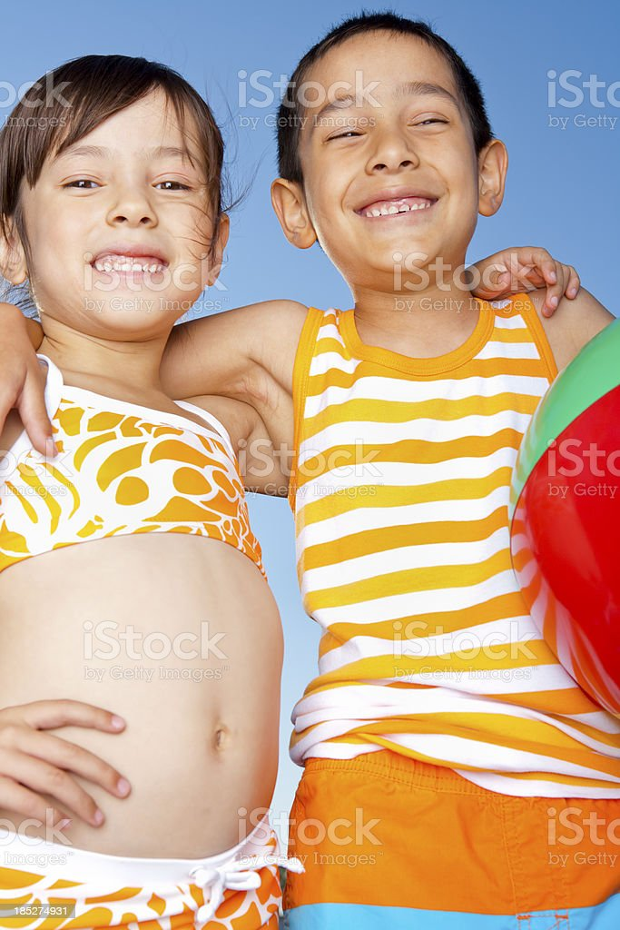Young boy and girl bonding royalty-free stock photo