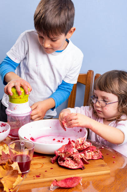 Young boy and girl siblings squeeze pomegranate juice, making a mess. Face and clothes dirty with red spots. Healthy food concept. stock photo