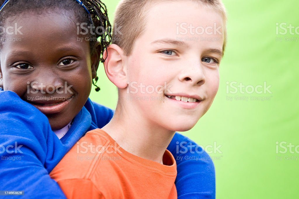 Young Boy and Girl who are Adopted Siblings royalty-free stock photo