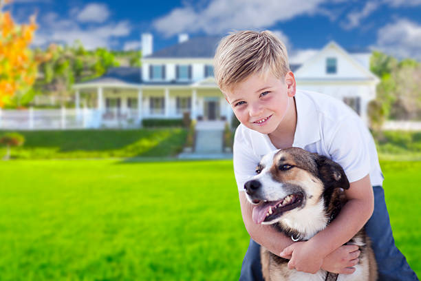 Young Boy and His Dog in Front of House stock photo