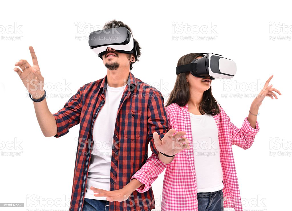 Young boy and little girl  experience with VR headset - Photo