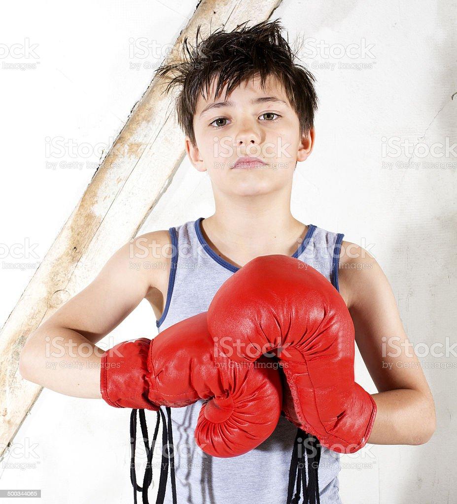 young boy as a boxer stock photo