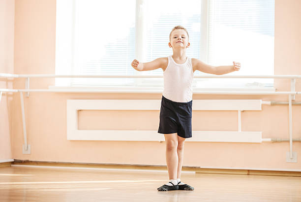 Young boy at ballet class stock photo