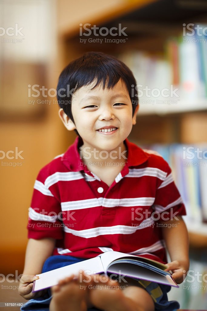 Young Boy at the Library stock photo