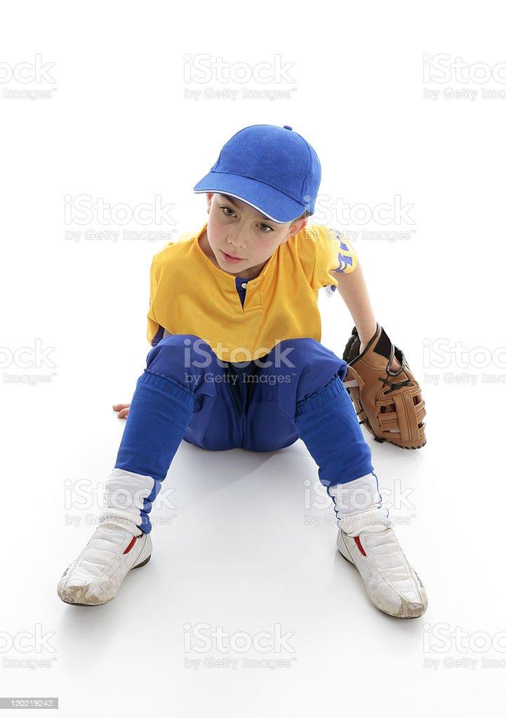 Young boy baseball t-ball player stock photo