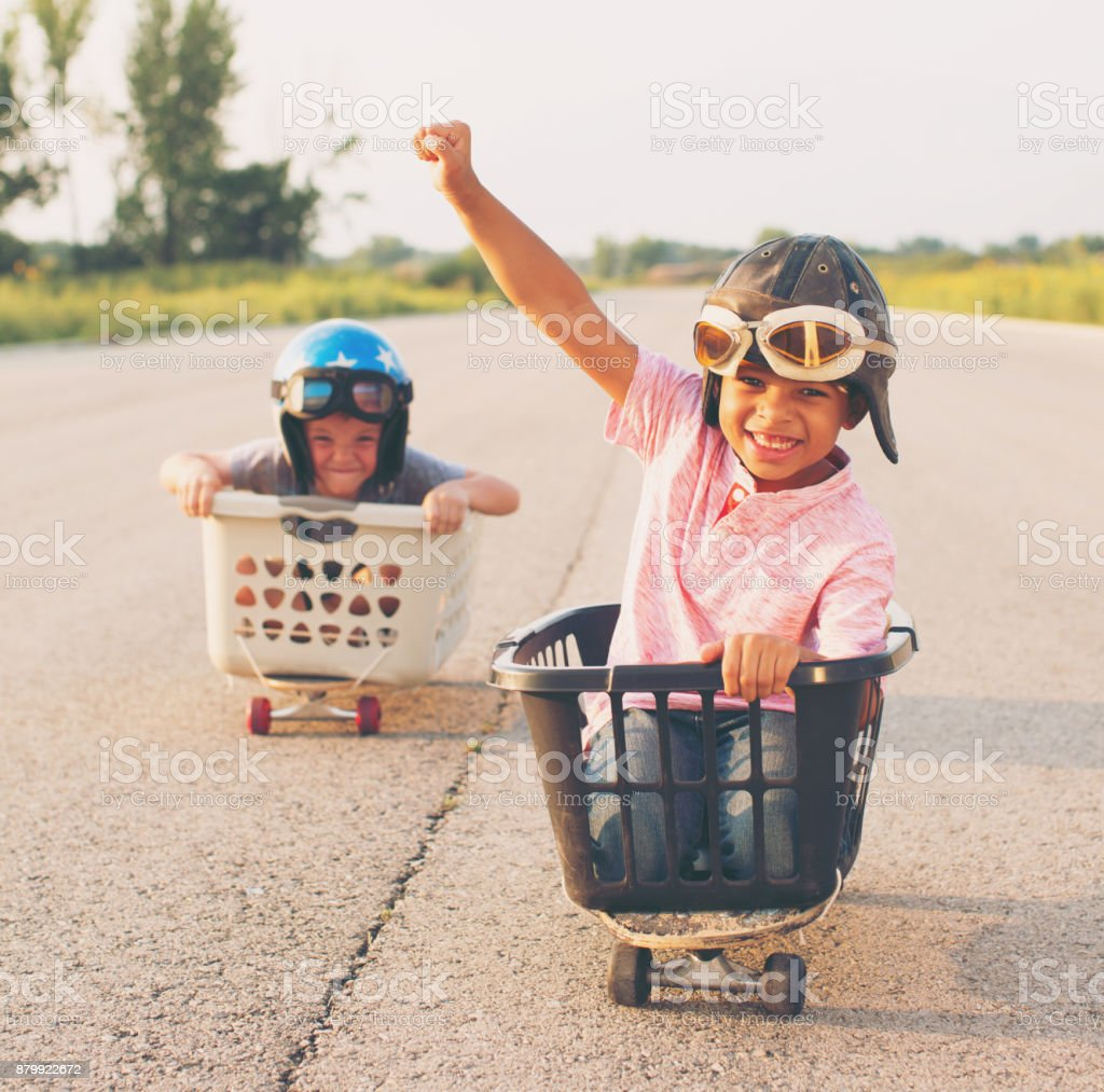 Young Boy Basket Racers stock photo