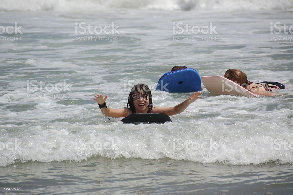 Young Boy Boogie Boarding stock photo