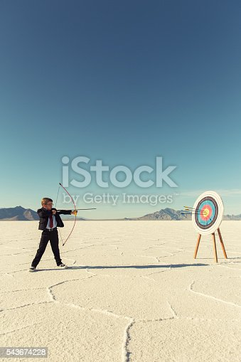 istock Young Boy Businessman Shoots Arrows at Target 543674228