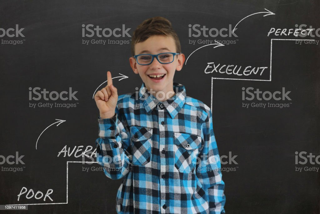 Young boy child think decision choice idea startup ladder of success stock photo