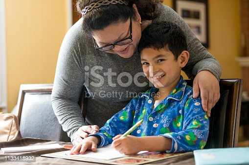858130938 istock photo Young Boy Doing Homework 1133418932