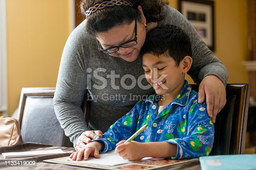 858130938 istock photo Young Boy Doing Homework 1133419009