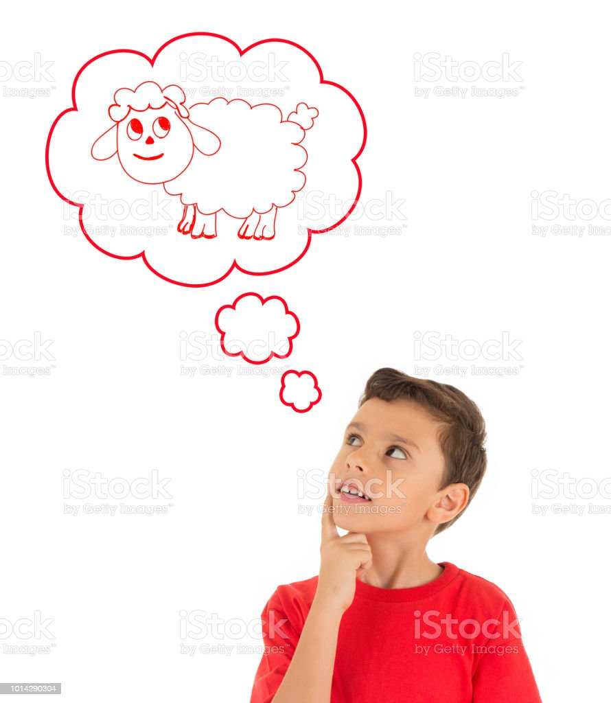 Young Boy dreaming with a sheep of Eid Ul Adha Feast stock photo