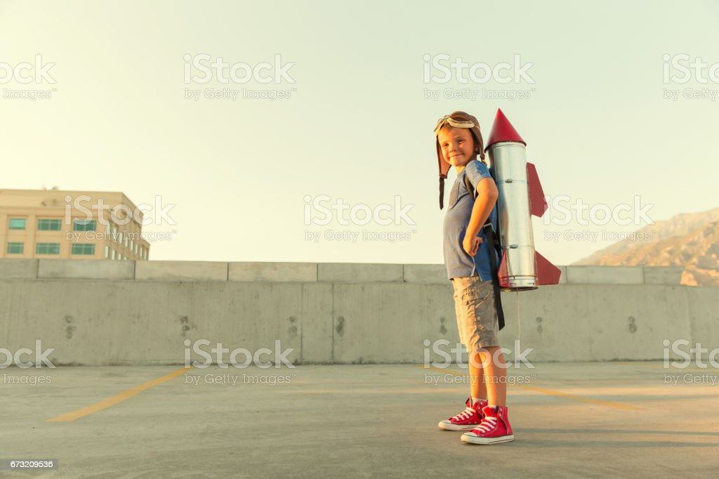 Young Boy Dreams of being an Astronaut stock photo