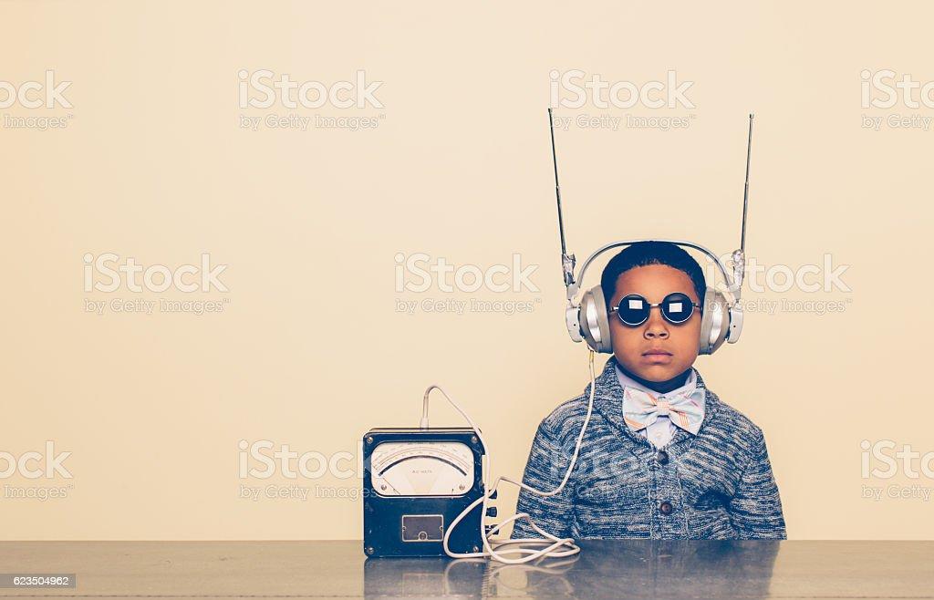 Young Boy Dressed as Nerd with Alien Headphones - foto stock