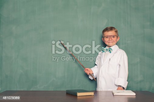 A young and precocious boy is ready to teach you about new theories.