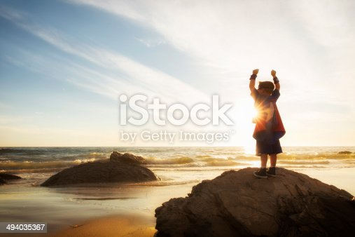 A young boy envisions achieving his dreams on a California Beach.
