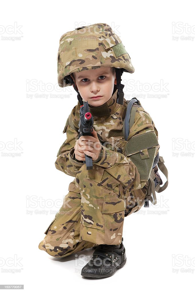 Young boy dressed like a soldier stock photo