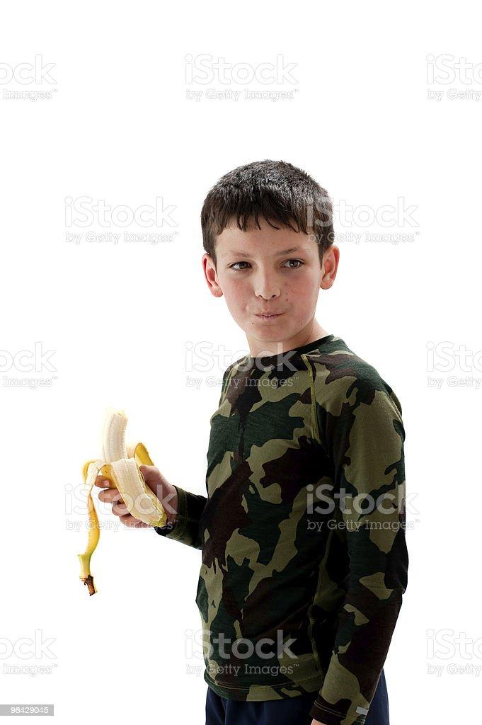젊은 남자아이 염분과 바나나 royalty-free 스톡 사진
