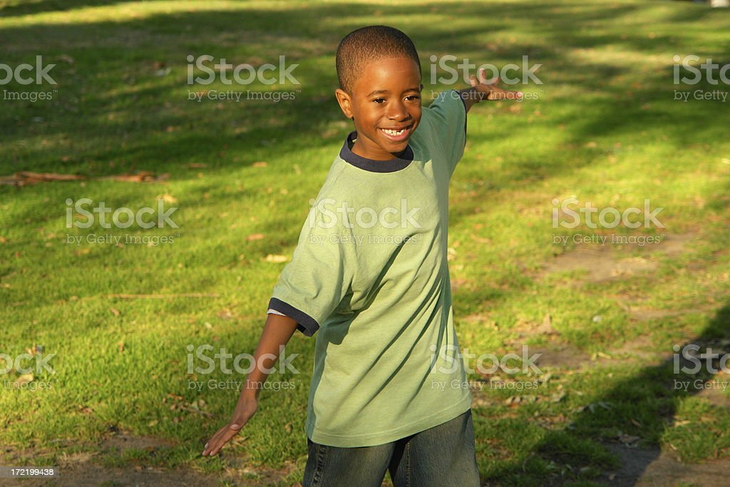Young Boy Flys royalty-free stock photo